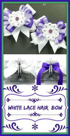 Hair Bow Making Tutorial with White Lace Flower Center 2019 White Lace Hair Bow DIY Crafts Tutorial The post Hair Bow Making Tutorial with White Lace Flower Center 2019 appeared first on Lace Diy. Dog Hair Bows, Ribbon Hair Bows, Dog Bows, Diy Ribbon, Fabric Bow Tutorial, Hair Bow Tutorial, Diy Tutorial, How To Make Hair, How To Make Bows