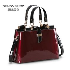 (54.60$)  Buy here - http://ai0n5.worlditems.win/all/product.php?id=32799104128 - SUNNY SHOP High quality Aristocratic women messenger bags shiny patent  leather shoulder bag fashion wedding party bag bolsos