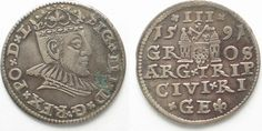 1591 Riga RIGA 3 Groschen (Trojak) 1591 GE SIGISMUND III of POLAND silver VF/VF+ # 95135 VF/VF+