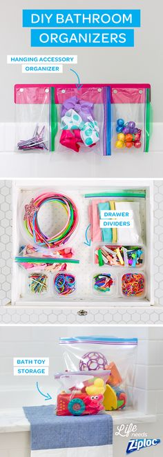 These easy bathroom DIYs are cheap and easy to make. Make a space-saving hair styling station with Ziploc® bags and a magnetic strip, or use Ziploc® containers to organize any size drawer. Then just put bath toys in Ziploc® bags for under the sink storage. These organization ideas are perfect for small bathrooms!