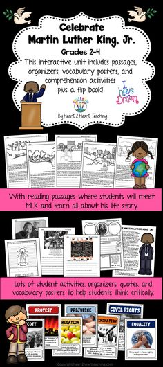Your students will love learning all about Martin Luther King Jr. with this hands-on resource! This pack includes passages, organizers, vocabulary posters, comprehension and connection activities plus a flip book!