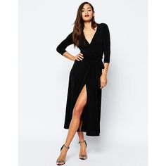 ASOS Wrap Maxi Dress in Jersey Crepe (£38) ❤ liked on Polyvore featuring dresses, black, tall wrap dress, tall dresses, deep v neck maxi dress, jersey maxi dresses and wrap maxi dress