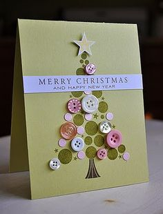 Christmas greeting-cards green circle stamps and red buttons