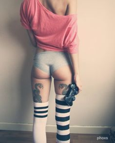 under butt tattoo Sexy Tattoos, Girl Tattoos, Tattoos For Women, Crazy Tattoos, Thigh Tattoos, Tattoo Women, Tattoed Girls, Inked Girls, Sexy Socks