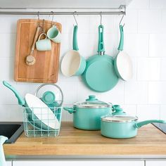 """Oh, and here's a bonus: This set also comes with four cooking utensils.Promising review: """"These are exactly as advertised. I absolutely love this set of cookware. Even more so, the price. I have a gas stove, and after using the frying pan on high, the pan looks like it wasn't even touched. My eggs slid around like they were figure skaters on ice. So far, every single piece has performed exactly the same. If asked would I recommend this set, my answer would be YES."""" —MichaelGet a 16-piece set…"""