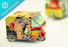 Printable template DIY Auto Rickshaw India Toy
