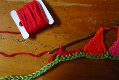 Mini Crochet Bunting Strings by Attic 24. Made me think of making some cute watermelon bunting. Just add seeds. :)