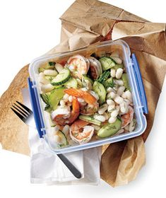 Lemony Shrimp and White Bean Salad recipe from realsimple.com #myplate #protein #vegetables