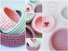 crochet baskets made of Tshirt yarn , zpaggeti yarn by MalkishuArt. A perfect handmade gift. round crochet basket, round bin, storage basket, DIY basket