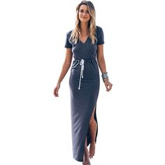 Summer Beach Dress 2016 Women Maxi Slit Elastic Waist V-neck Vestidos Short Sleeve Dresses Women Clothings
