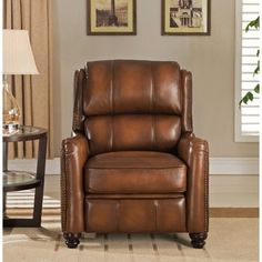 Lowry Vintage Brown Premium Top Grain Leather Recliner Chair - 18733467 - Overstock - Big Discounts & Lancaster Leather Recliner - 2 in Cognac for Lower Level Family ... islam-shia.org