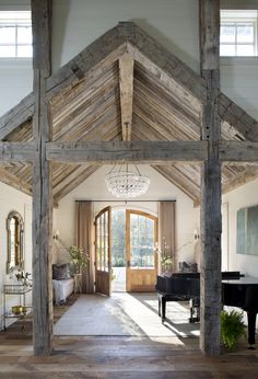 Take a peek inside this gorgeous entertainment barn in Tennessee This beautiful country home was custom designed as an entertainment barn by Norris Architecture, nestled on 20 acres in Memphis, Tennessee. Arched Doors, Pole Barn Homes, Barn Style Homes, Home Interior Design, Interior Doors, Modern Interior, Wood Interior Walls, French Interior, My Dream Home
