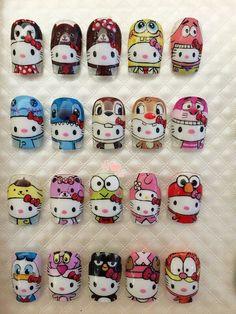 These are so cute!! Kawaii Nail Art, Cute Nail Art, Gel Nail Art, Cute Toe Nails, Love Nails, Pretty Nails, Frozen Nails, Hello Kitty Nails, Bridal Nail Art