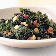 Braised Kale with Bacon and Cider | MyRecipes.com--Just made it. Delicious!