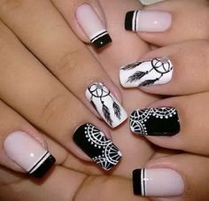Lo quiero en mis uñas!!!!!! Dream Nails, Love Nails, Pretty Nails, My Nails, Art Deco Nails, Dream Catcher Nails, Feather Nails, Mandala Nails, Stylish Nails