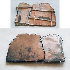 Michelle Hur: what cheer, netop?  brooch fragments  decals on enamel, metal