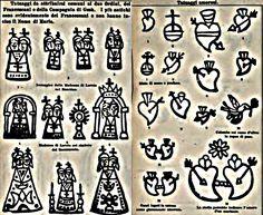 """Alcuni fra i tatuaggi più comuni di Loreto, fra sacro e profano da """" I tatuaggi sacri e profani della Santa Casa di Loreto"""", Caterina Pigorini Beri, 1889"""