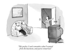 """""""Oh, perfect. I can't remember what I wanted from the basement, and you've…"""" - New Yorker Cartoon Poster Print  by Pat Byrnes at the Condé Nast Collection"""