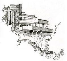 Fallingwater (taking inspiration from woodblock prints of Hokusai)