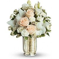 Teleflora's All Around Recipe for Romance Bouquet. Turn on the charm with this elegant white and crème bouquet. Delivered in a classic Mercury Glass Vase, the delicate arrangement is as romantic as they come in shades of rich cream and snow white blend. Romantic Flowers, Beautiful Flowers, Send Flowers, White Spray Roses, White Roses, Blush Roses, Silver Roses, Pink Roses, Wedding Reception Flowers