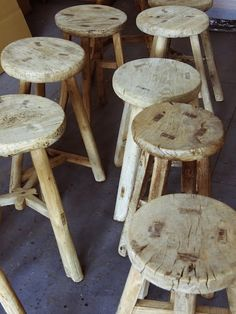 wood stools. useful for sitting, for plant holding and for getting things from tall people places.