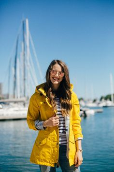 I'm wearing: Coat: Barbour Trevose Rain Coat (currently on sale–$100 off–right here! This jacket is also really similar and adorable!) and Barbour striped top (