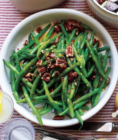 Green beans with pecans and maple vinaigrette. Should make this again. Warning: once you add the vinaigrette, it is not long for this world.