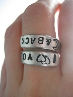 I love you to the moon and back, Twist ring, gifts for best friends, mens gift,  ring anniversary gift, personalized ring. $10.00, via Etsy.