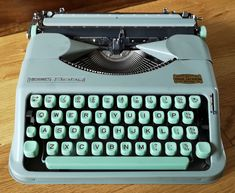 Vintage Hermes Baby Typewriter. Vintage Portable Typewriter - Hermes Baby Made In Switzerland by Paillard. 1960 Hermes Baby Typewriter by OnyxCollectables on Etsy Retro Typewriter, Portable Typewriter, Kelly Wearstler, Plywood Furniture, Hans Wegner, Spice Tins, Vintage Typewriters, The Old Days, Baby Makes