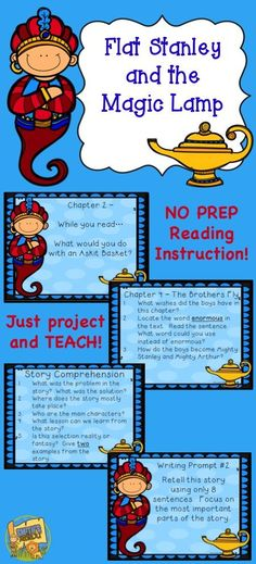 Flat Stanley and the Magic Lamp - Novel Study - Just project the questions to go with each chapter as your class enjoys this magical adventure!