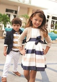 love that his blazer matches the stripe in her dress. You could easily have him in jeans as well if you're afraid of white pants on a little boy (who's NOT!? haha)