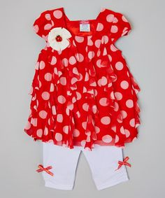 Look at this #zulilyfind! Red Polka Dot Tunic & Leggings - Infant, Toddler & Girls by Tuff Cookies #zulilyfinds
