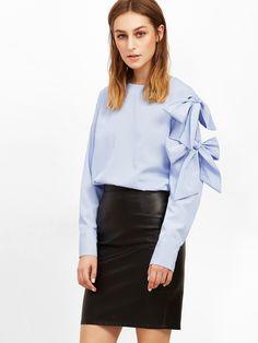 #AdoreWe #SheIn Blouses - SheIn Blue Vertical Striped Bow Tie Sleeve Blouse - AdoreWe.com