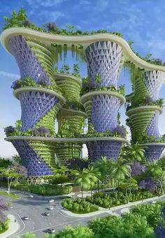 natuur gecombineerd met een gebouw