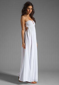 Bandeau maxi dress white