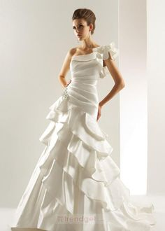 Simple A-line One Shoulder Floor-length Satin White Wedding Dresses - $179.99 - Trendget.com
