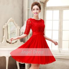 Short prom dress/ lace prom dress/short red by angeldress2014 ...