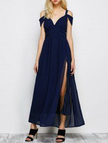 Cold Shoulder Slit Maxi Prom Dress - Purplish Blue - Purplish Blue S