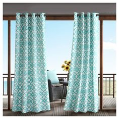 Pismo Printed Fretwork 3M Scotchgard Outdoor Panel Aqua (Blue) - 50x84