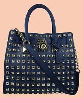 MICHAEL KORS HAMILTON Studded Blue Navy Saffiano Leather Tote Bag *FREE SHIPPING