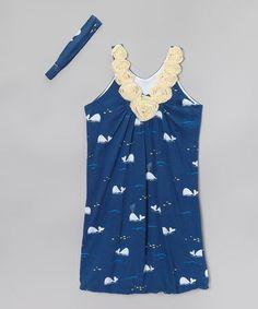 Look what I found on #zulily! Navy & Yellow Whale Rosette Nightgown & Headband by munki munki #zulilyfinds
