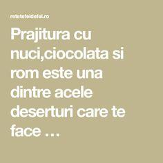 Prajitura cu nuci,ciocolata si rom este una dintreacele deserturi care te face …