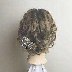 Kawaii Hairstyles, Party Hairstyles, Cute Hairstyles, Wedding Hairstyles, Short Hair Updo, Short Hair Styles, Hair Arrange, Japanese Hairstyle, Festival Hair