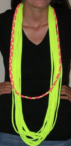 Neon Yellow Infinity T-shirt Scarf with Hot Pink and Neon Yellow Braid