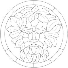 I didn't get the gig I made this green man design for, but I liked the idea enough to try. Stained Glass Patterns Free, Stained Glass Crafts, Faux Stained Glass, Stained Glass Designs, Free Mosaic Patterns, Mosaic Glass, Fused Glass, Blown Glass, Glass Painting Designs