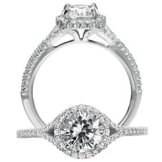 Bella Vita diamond engagement ring featuring a round halo with prong set round cut center stone surrounded by mircopavé diamonds and diamond split shank.