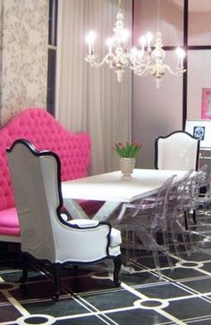 Loving this lately...Louis Ghost chairs, and patent leather Bergere Chairs....with that hot pink bench......