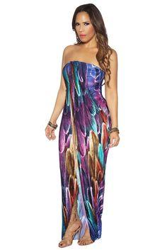 36a48456af3 Multicolor Leaves Print Wrap Strapless Maxi Dress
