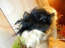 Fascinator schwarz Gothic Haarblüte Haarschmuck