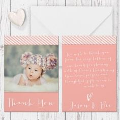 baptism christening thank you card stripes peach with photo